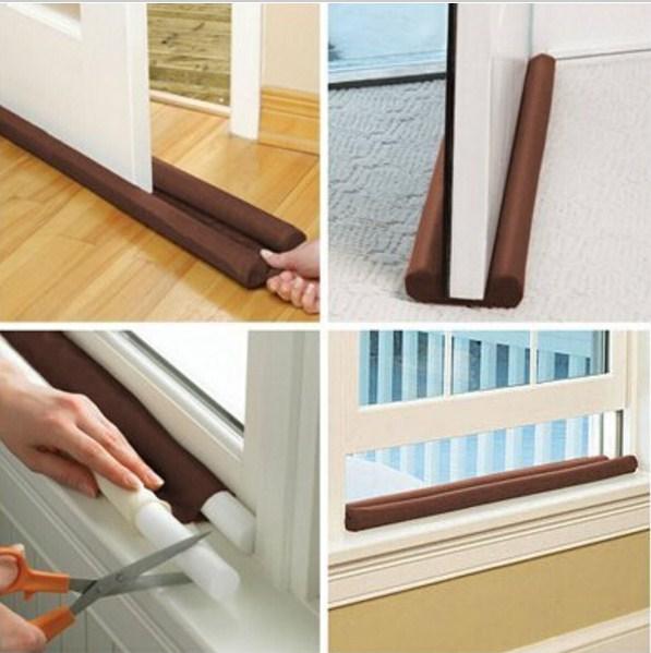 Twin door draft stopper dual draught excluder air insulator windows dodger for Exterior door draught excluder