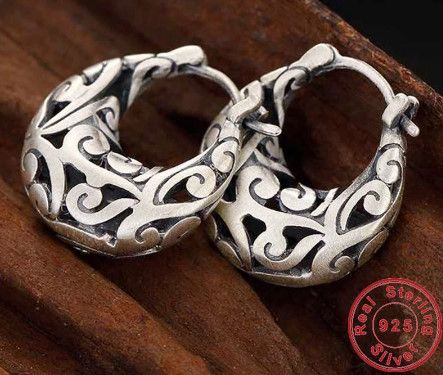 7f7a653b13047 Vintage Style 100% Real 990 Pure Silver Earrings