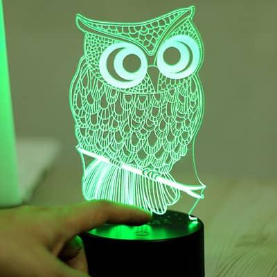Tripleclicks Com 7 Color Led 3d Owl Lamp Nightlight