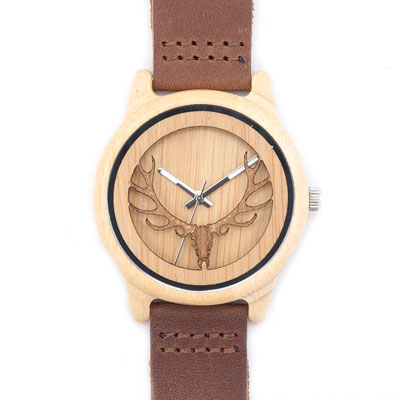 Deer Head Bamboo Wood Casual Watch