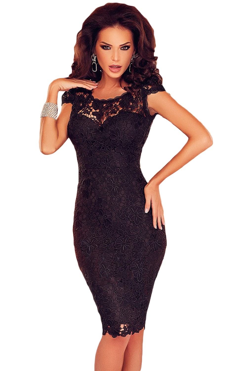 TripleClicks.com: Black Lace Open Back Chained Party Dress