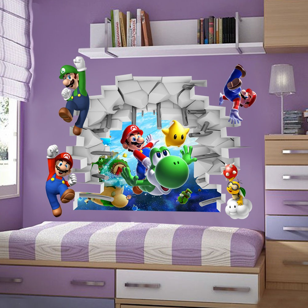 Tripleclicks super mario bros 3d view art wall stickers tripleclicks super mario bros 3d view art wall stickers decals home decor free shipping amipublicfo Gallery