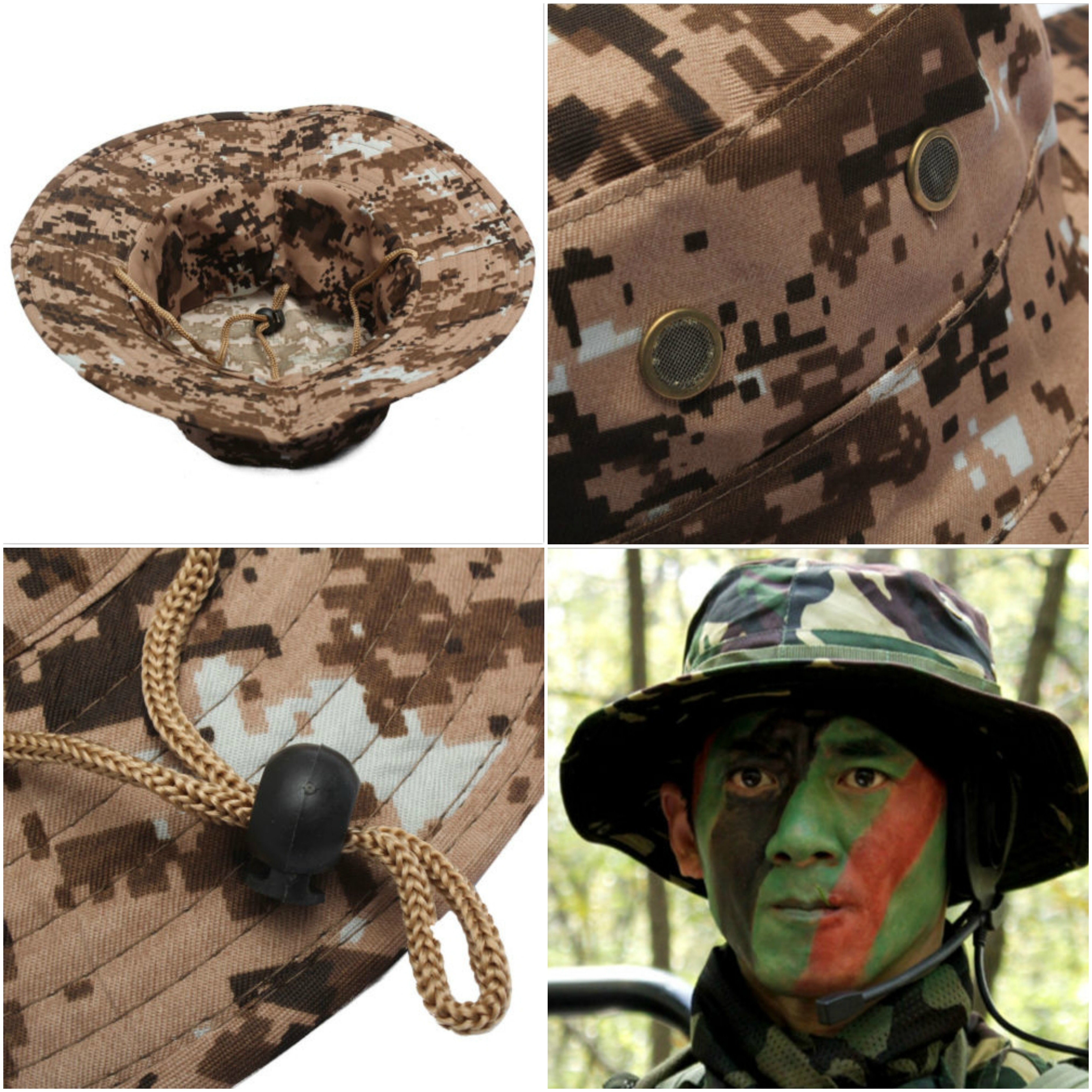 06a80d73cbc1f Bucket Hat Boonie Hunting Fishing Outdoor Cap Wide Brim Military Unisex Sun  Camo
