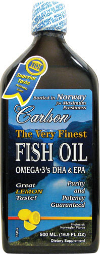 Fish oil omega 3 lemon very finest carlson for Carlsons fish oil