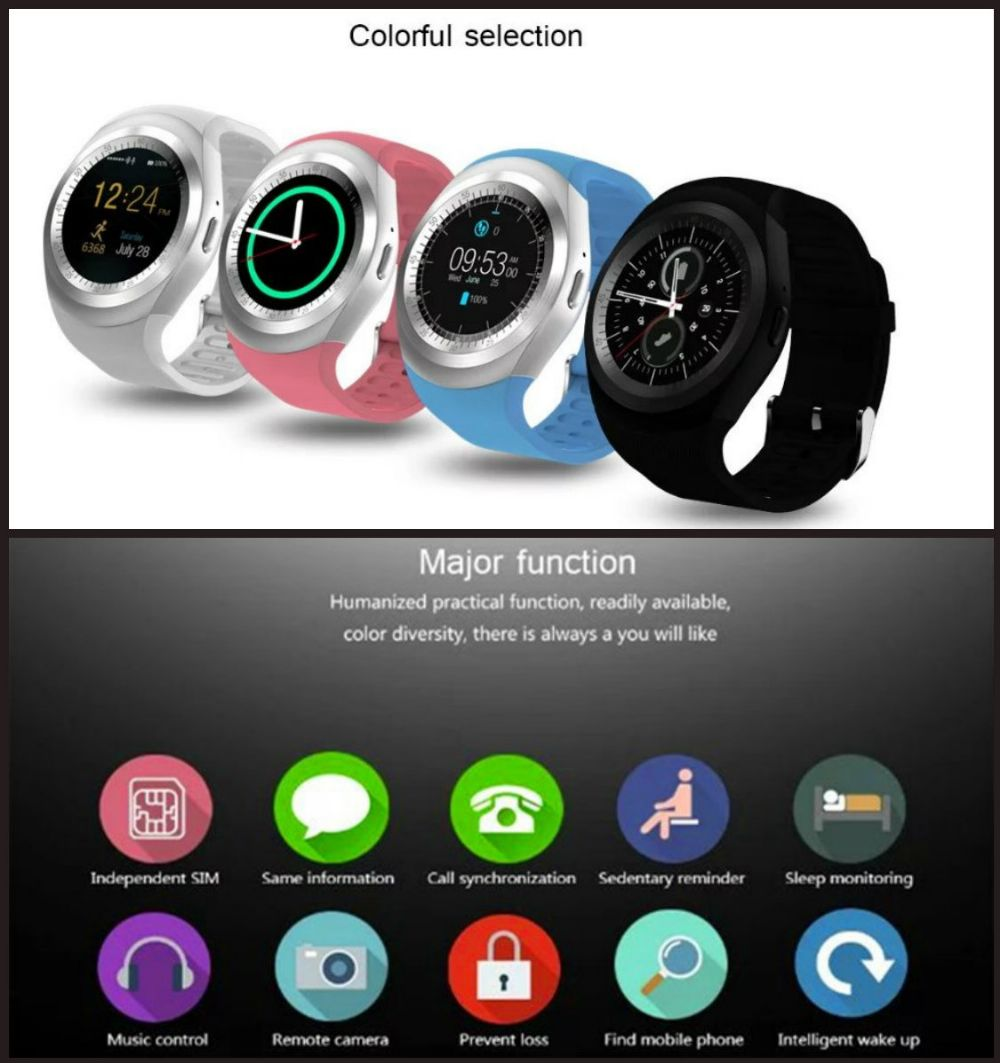 Smart Watch Y1 Smartwatch - Bluetooth Camera SIM Android (Newest Version)
