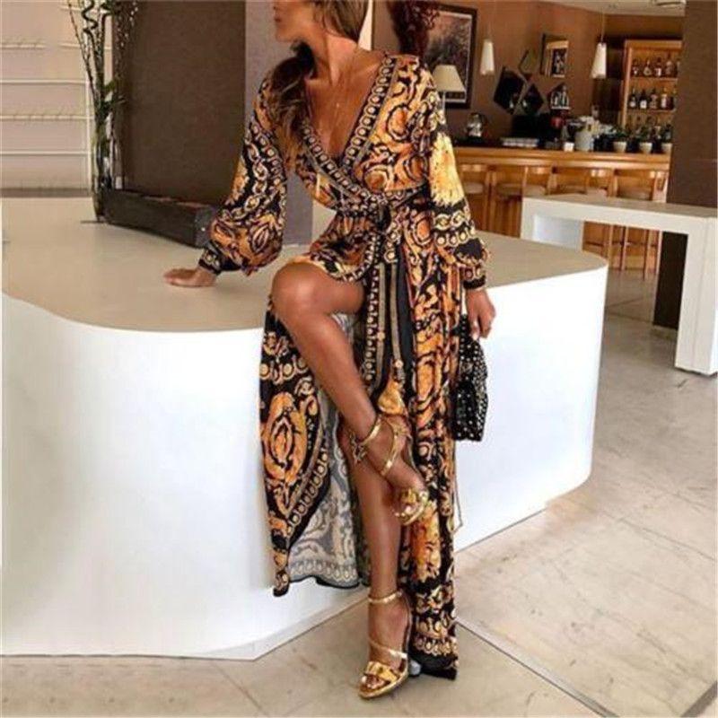 Bohemian Women Mistery Printing Long Maxi Dress