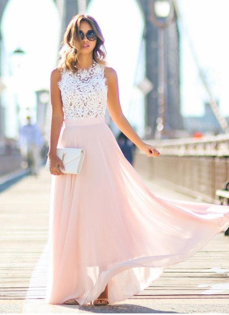 Women Sexy Summer Lace Maxi Long Dress Evening Party Prom Dress Sundress Chiffon Dress