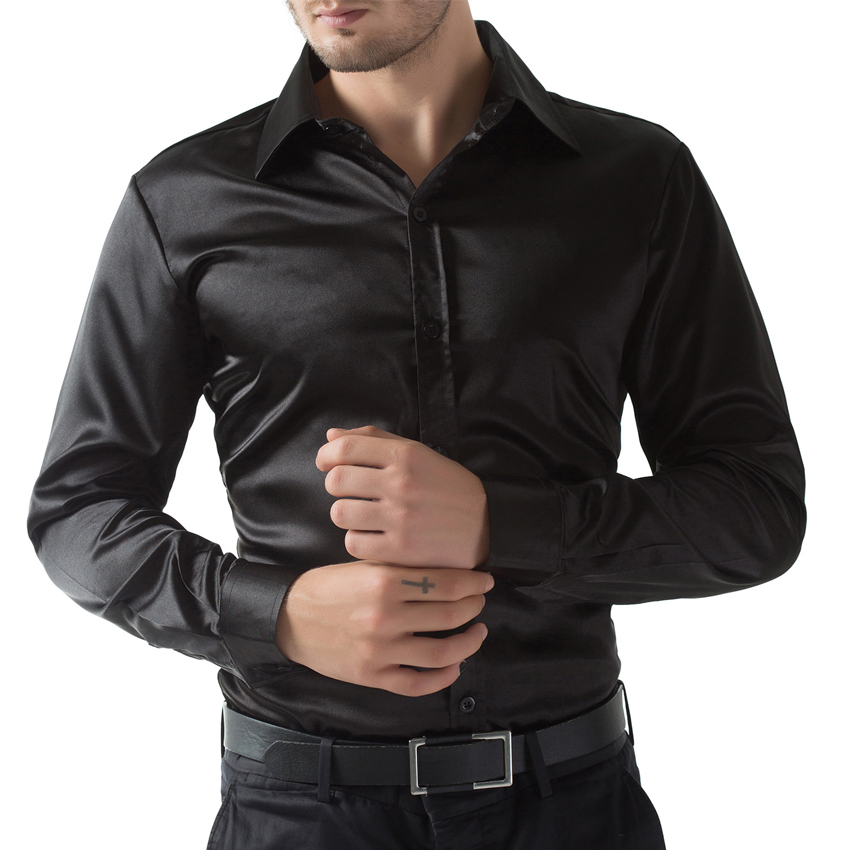 TripleClicks.com: Camisa masculina men casual silk shiny shirt