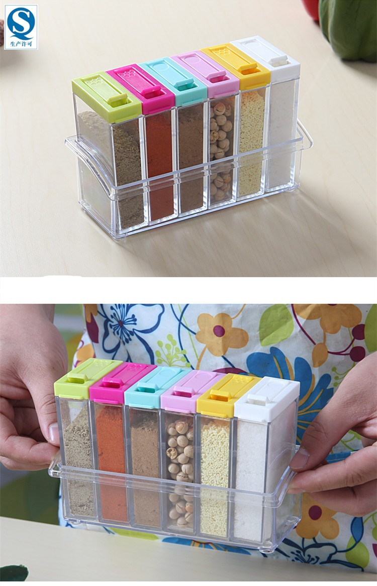 Newest simple colorful lid seasoning box for Kitchen tool set of 6pcs sj