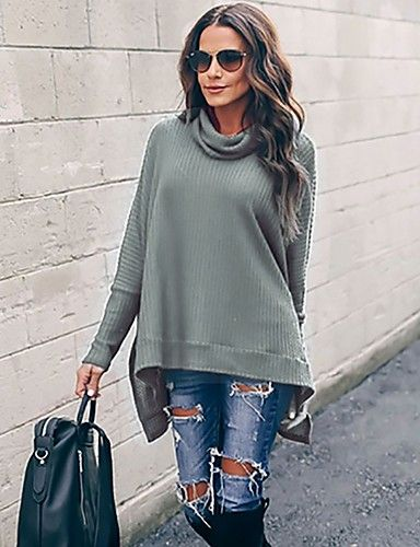 Women's Solid Colored Long Sleeve Loose Pullover