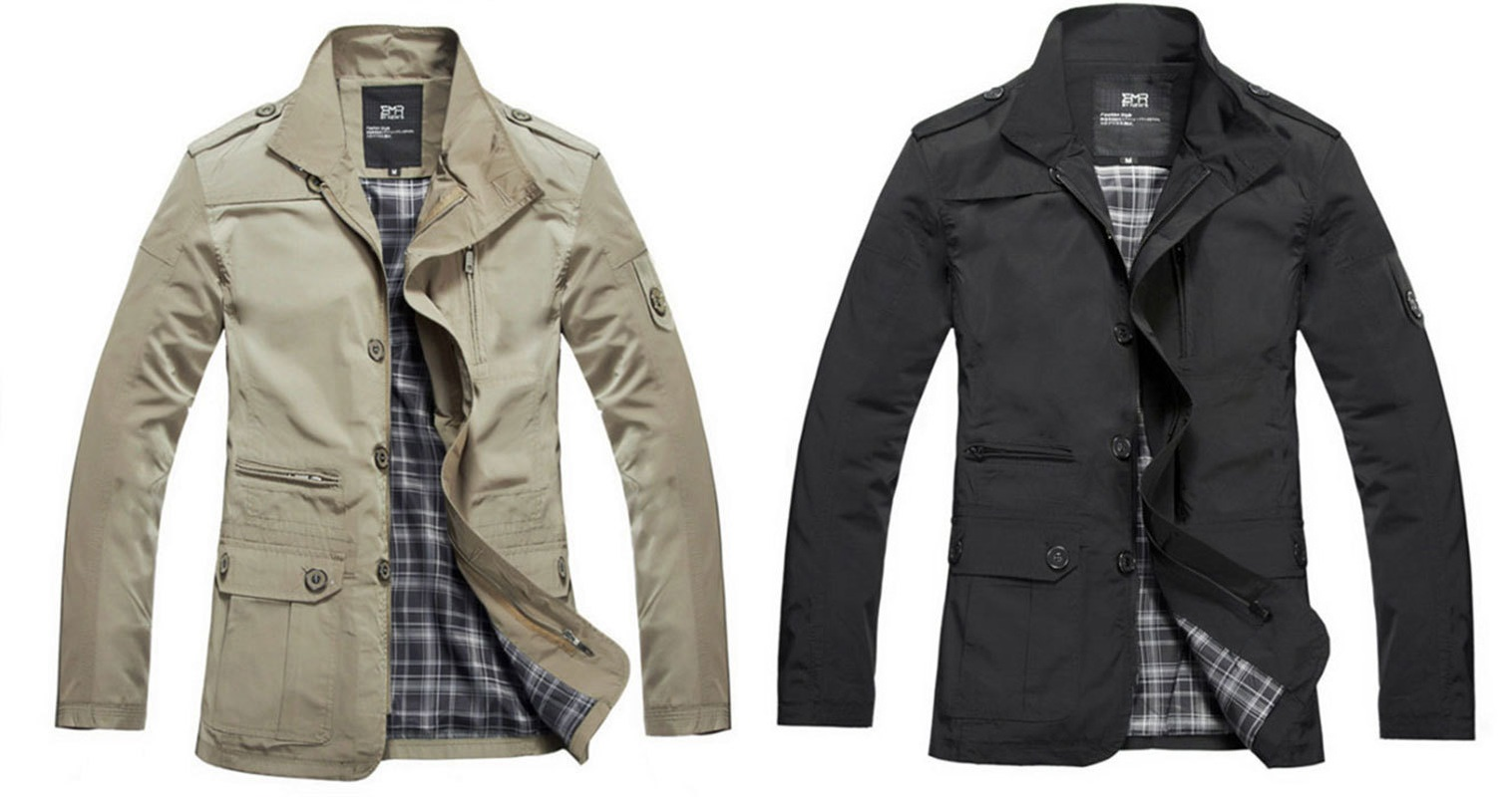 TripleClicks.com: Men Trench Coat Mens casual winter jacket