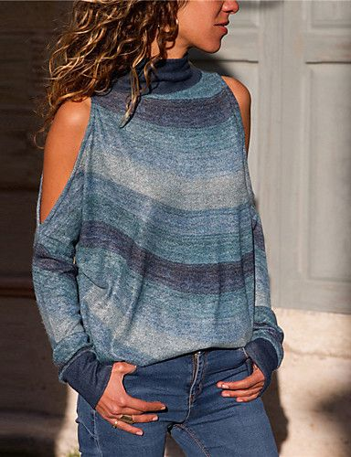 Women's Striped Long Sleeve Pullover