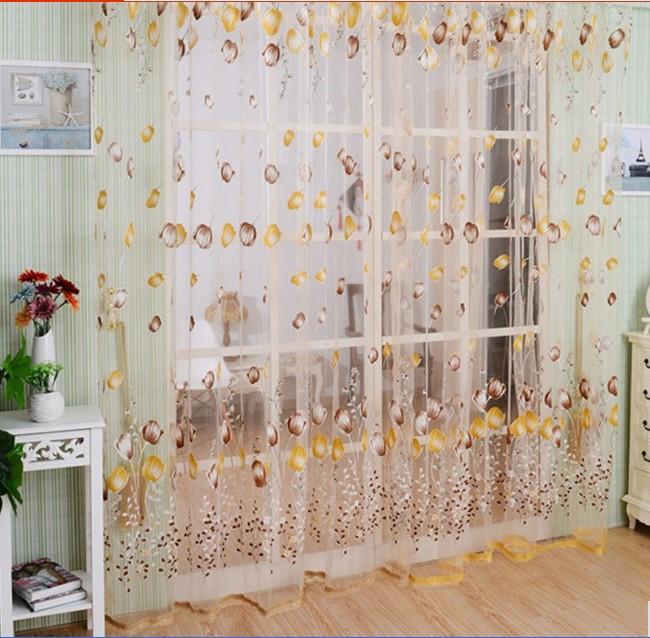 TripleClicks.com: LS4G 1M*2M Blue Green Orange Voile Curtain Chic ...