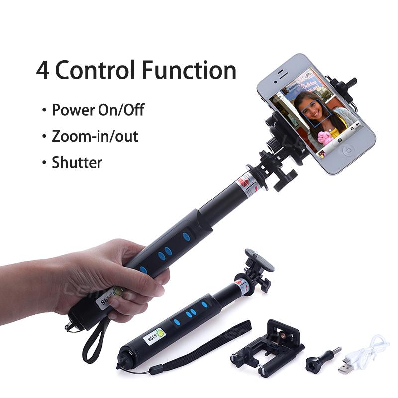 3 in 1 mini tripod bluetooth remote control selfie stick for smartphone gopro. Black Bedroom Furniture Sets. Home Design Ideas